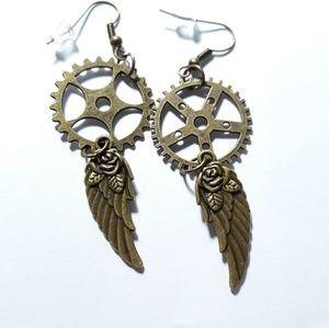 Bronze Steampunk Feather Dangle Earrings